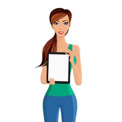 Woman showing tablet computer portrait