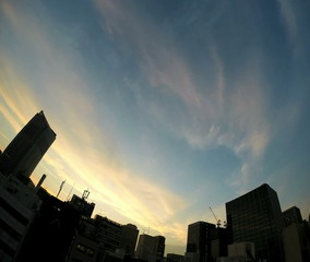 Timelapse of clouds over Tokyo's business district