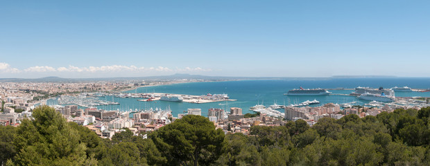 Panorama of the Palma de Mallorca marina harbor