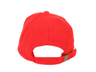 Close up of red cap. Back view.