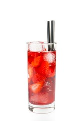 Strawberry cocktail with ice isolated