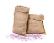 Burlap sack with money.
