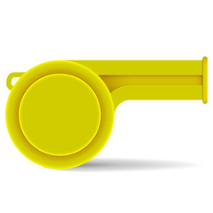 yellow whistle on a white background