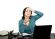 Постер, плакат: Businesswoman had a headache during Skype conversation