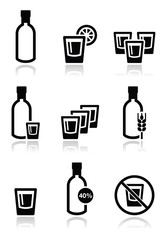 Vodka, strong alcohol icons set