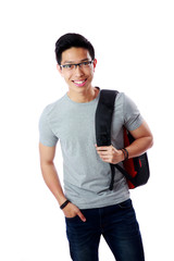 Portrait of a happy student with backpack over white background