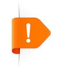 Ausrufezeichen - Orangener Sticker Pfeil mit Schatten