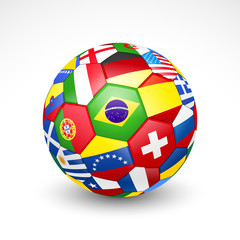 Football soccer ball with world teams flags. Vector