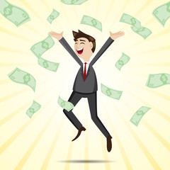 cartoon happy businessman jumping with money