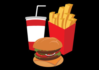 hamburger, french fries, cola, fast food. vector illustration