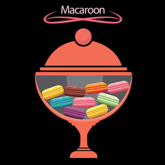 macaroon in the jar. concept vector illustration