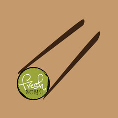 sushi with chopsticks. concept vector illustration