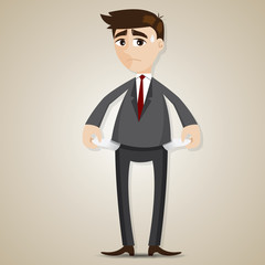 cartoon businessman have no money