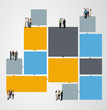 colorful template for  brochure with business people