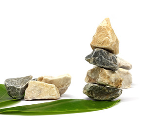 Stone spa and healthcare concept isolated white background