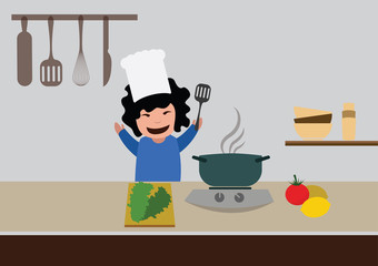 woman cooking healthy food in the kitchen. vector illustration