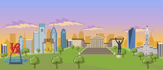 Philadelphia with landmarks, Pennsylvania - USA