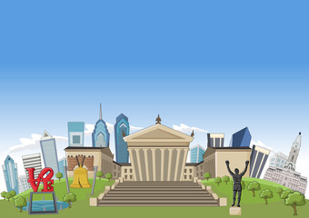 Philadelphia with landmarks, Pennsylvania - USA