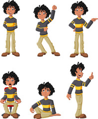 Cartoon black boy on different poses