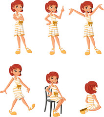 Cartoon girl on different poses