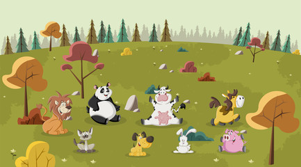 Group of happy cartoon animals pet on green park