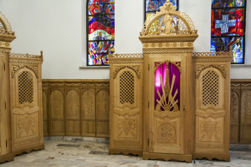 Beauty wooden confessional - Interior of Krzeptowki Church.