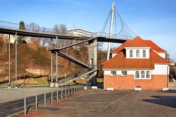 Hängebrücke und Hafenbahnhof in Sassnitz auf Rügen