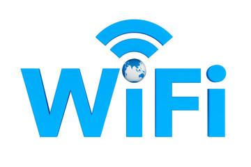 Blue WiFi symbol with Earth Globe