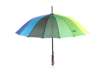 Open colorful umbrella, isolated on white