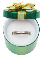 decorated green box with wedding platinum ring