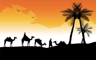 carovana di cammelli nel deserto