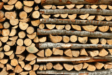 Split firewood in heap