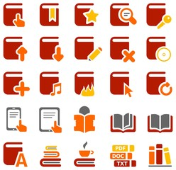 Colorful icons of books and literature