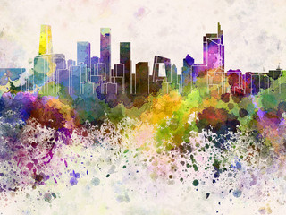 Beijing skyline in watercolor background