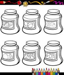 jams in jars set cartoon coloring book