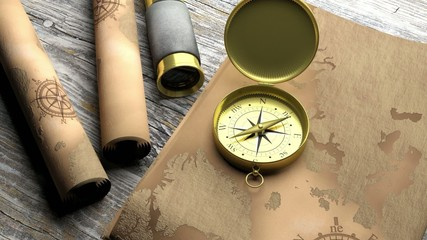 3D compass with map and monocular on wooden table