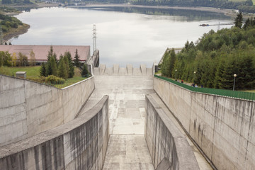 Hydropower station on Czorsztynski lake - Czorsztyn, Poland.