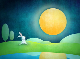 rabbit look at the full moon illustration
