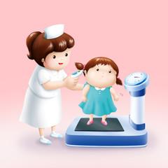 nurse taking temperature little girl