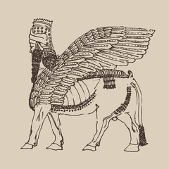 assyrian sculpture, engraved illustration