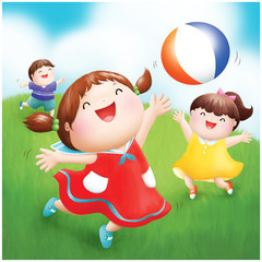 happy healthy children playing ball in the backyard illustration