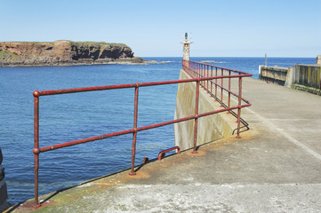 Eyemouth harbour pier entrance