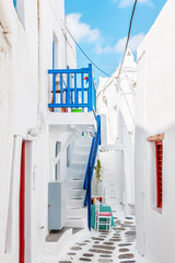 Narrow lane in Mykonos old town