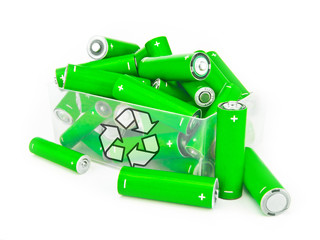 Box of green batteries