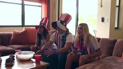 Group of happy USA soccer fans. Goal Celebration