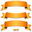 Banderolen mit Schatten und Textfreiraum in orange