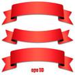 Banderolen mit Schatten und Textfreiraum in rot