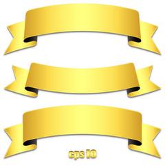 Goldene Banderolen mit Schatten und Textfreiraum