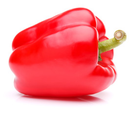 Red sweet bell pepper isolated on white background cutout