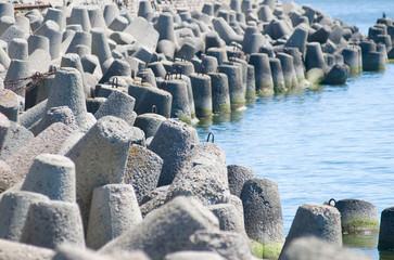 Concrete breakwater of Baltic sea channel